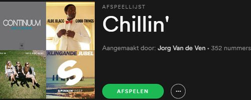 Spotify Playlist Jorg van de Ven