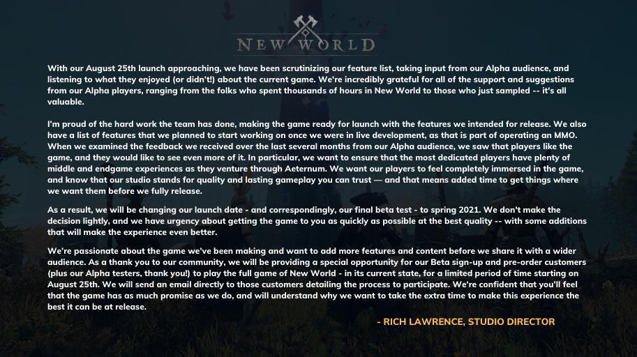 New World uitgesteld tot de zomer van 2021