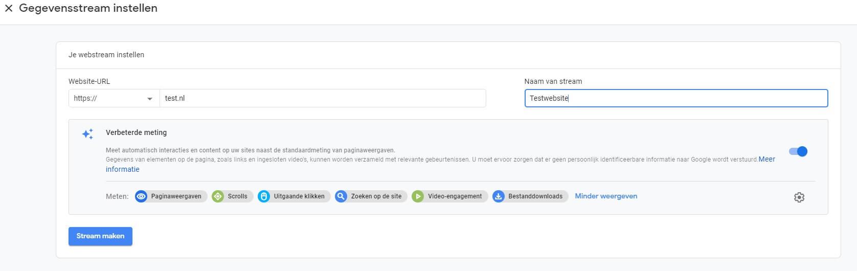 Google Analytics Web + App Gegevensstream aanmaken