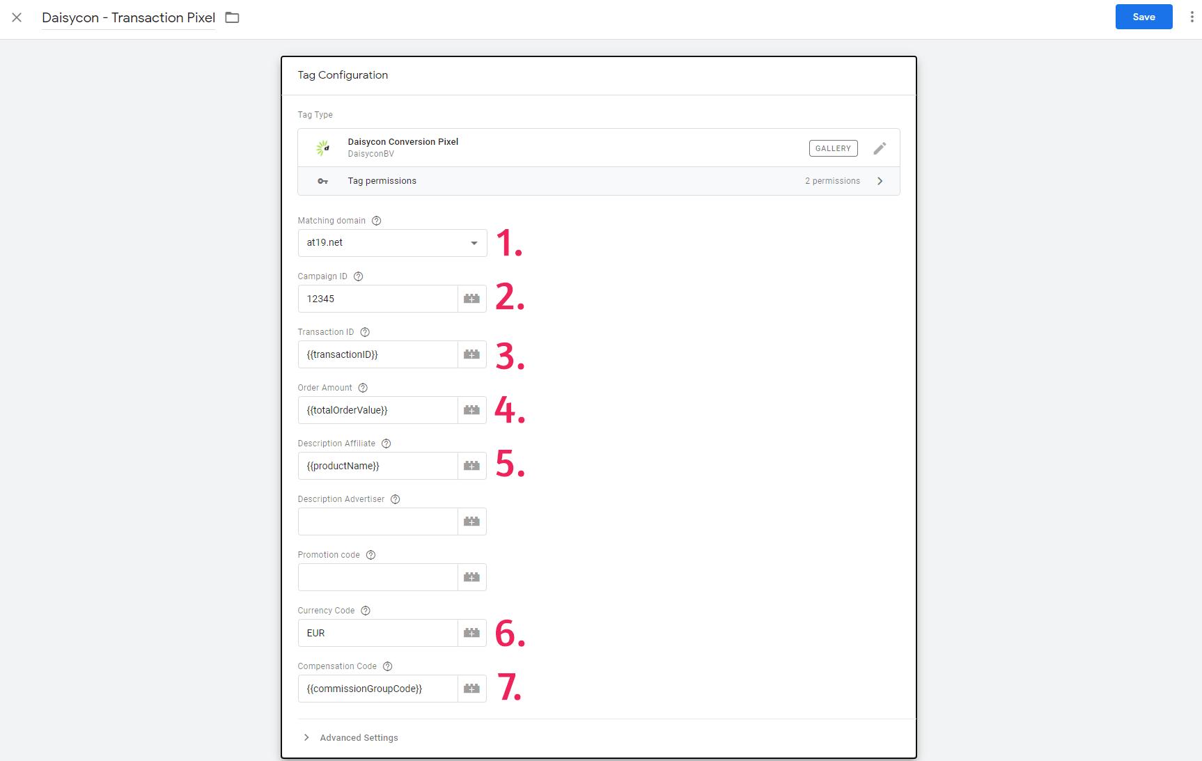 Daisycon Conversion Tag Variables