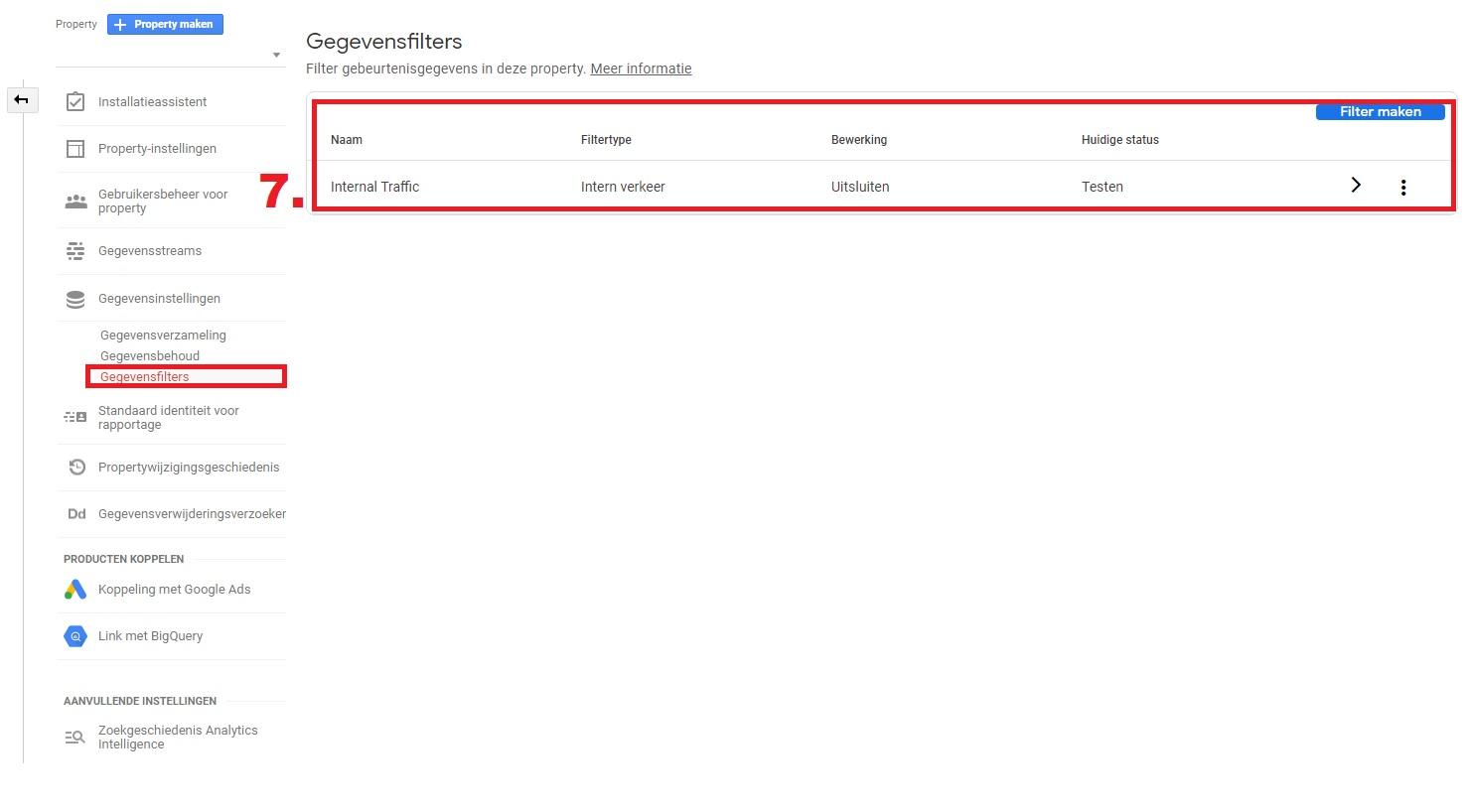 GA 4 gegevensfilters intern verkeer
