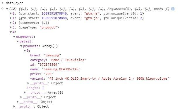 Voorbeeld van een dataLayer met product data